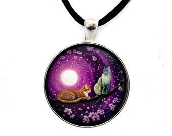 Zen Cats Pendant Orange Tabby Cat Lynx Point Siamese Cat Necklace Purple Moon Moonlight Cherry Blossoms Sakura Two Cats in Tree Jewelry