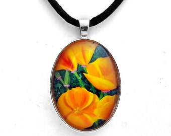 California Poppies Necklace Jewelry Pendant Spring Orange Flowers Wildflowers Floral Bohemian Handmade from Art by Laura Milnor Iverson