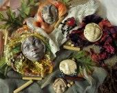 DIY kit, Art Dolls, Kitchen witch, Moon Goddess, Tribal art, Assemblage destash, clay faces (6)