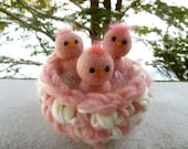 Baby chicks in a nest bird nest nature table three little birds Waldorf inspired ready to ship