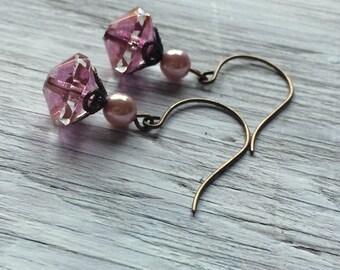 Beaded drop earrings - pink beaded earrings on brass