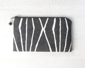 SALE - Small Zipper Pouch, Change Purse, Cotton Coin Pouch, Little Zip Pouch - Crosshatched in Charcoal Gray and White