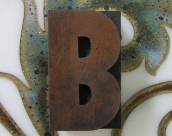 Antique Letterpress Wood Type Printers Block Letter B