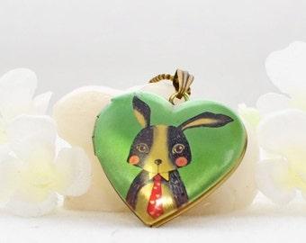 Bunny Jewelry Rabbit Locket Mr. Q T Bun - Bunny Rabbit - Rabbit Necklace - Bunny Locket
