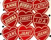 Red 1950's Pep Squad Felt Heart Name Patch- Deadstock Vintage