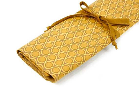Knitting Needle Case   - Modern Meadow - IN STOCK Large Organizer 30 tan pockets for all sizes or paint brushes