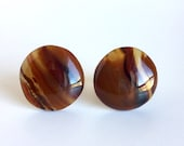 Vintage Brown Agate Cufflinks - Earthy Neutral Polished Stone Cuff Links - Circle Domes Wavy Lines Stripes of Caramel & Espresso, Gold Metal