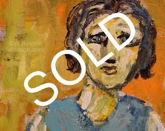SOLD----------Mama Still Worries, Original Figure Painting, Original Art,  Small Format Art, Winjimir, Decor, Art, Mom,