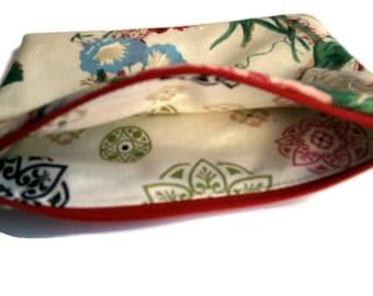 Linen Fabric Floral Zipper Pouch, Carnations Pouch, purse organizer, clutch bag, travel accessory, cord cozy, fabric bag, linen blend