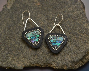 Sterling silver dangle drop earrings triangle iridescent faux opal blue green purple polymer sterling beads and ear wires faux wood