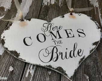 HERE COMES the BRIDE Sign | Wedding Sign | Ring Bearer Sign | Flower Girl Sign | Wedding Decorations | Shabby Chic Sign for Romantic Wedding
