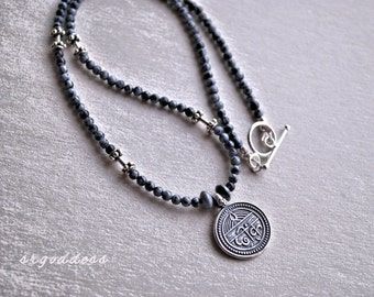 GOOD HEALTH sanskrit sterling silver and snowflake obsidian 18 inch toggle necklace by srgoddess