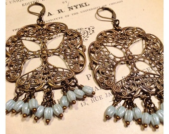 HUGE Bohemian Filigree Chandelier Earrings in Pale Blue
