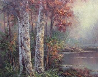 Morning Birch Forest.  Original Fine Art, Oil Painting by Griselda Tello.