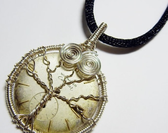 Steampunk Silver Wire Wrap Tree of Life 3D Sculpture Pendant