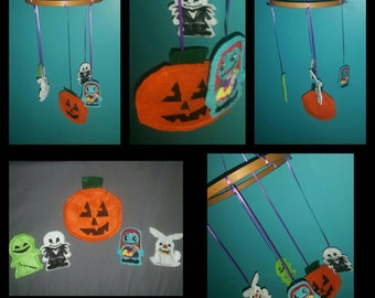 Mobile inspired by Nightmare Before Christmas characters jack sally baby gift shower