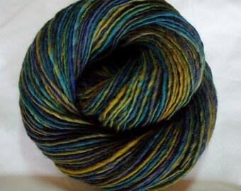 Handspun merino yarn, merino knitting yarn, crocheting yarn, dolls hair, felting yarn, handspun yarn, green yarn, JUNGLE II, 190yds