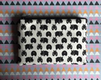 Black and white hippos - Change Purse - Zipper Pouch - Clutch - Coin Purse  - Zipper Bag