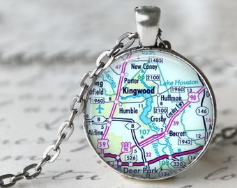 Personalized  Custom Map Pendant, Necklace or Key Chain - Larger Size - 30mm