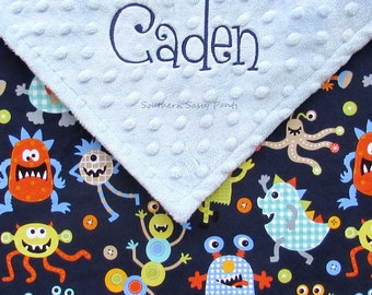 Personalized Baby Boy Security Blanket , Minky and Friendly Monsters Lovie, 18x18
