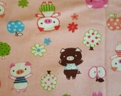 Japanese Import Little Pigs on Pink Cotton Knit French Terry Fabric - Half a Yard