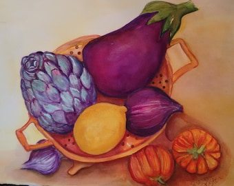 Watercolor Painting Original Eggplant Artichoke Eggplant Lemon Pumpkins Kitchen Decor