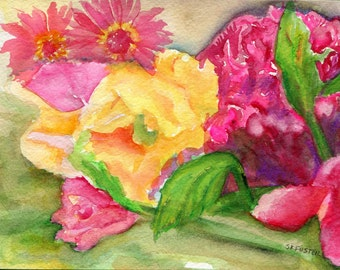Watercolor flowers painting, cockscomb, gladiolas watercolors paintings original, flowers,  small floral wall art, flowers painting