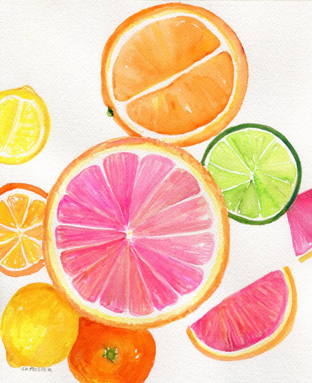 Citrus Watercolor Painting Original 8 X 10 Tutti Frutti Grapefruit Lemon Orange Lime Watercolor