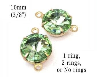 Peridot Green Glass Beads, Brass Settings, 10mm Rivoli, Cabochon, One or Two Rings, No Ring Settings, Set Stones, Rhinestone, One Pair