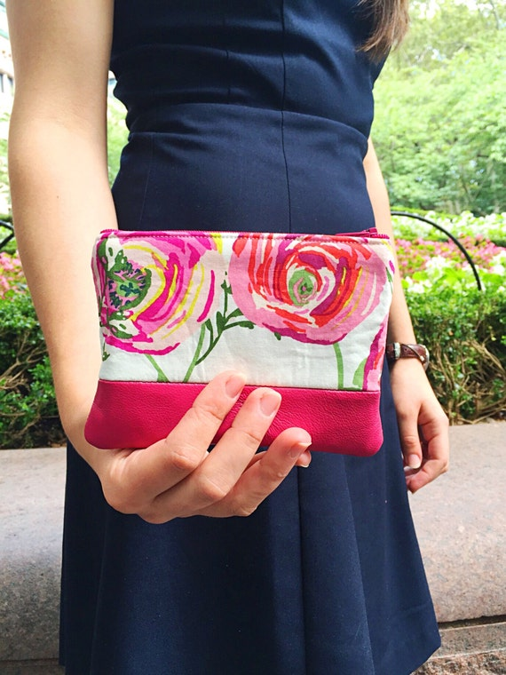 Floral Pink Leather Pouch, Coin Purse, Zipper Pouch, Change Wallet
