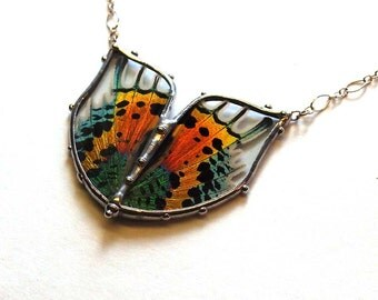 Butterfly Art Jewelry - Double Sunset Moth Necklace - Real Colorful Moth Wings - Boho Chic Statement Necklace