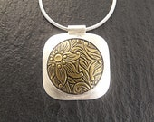 Necklace - Square Floral Pendant in Sterling Silver and Brass - Handmade in Seattle