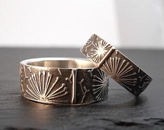 RESERVED listing - Wedding Band Set - Dandelion Patterned Ring 6mm