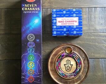 Incense Burner & Incense ~ Hamsa Hand Bundle Value Pack