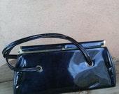 Vintage 1960s Handbag Black Patent Leather Purse Vegan 201646