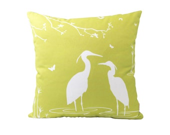 White on Yellow Olive Green Egret Lovers 18 inches Square Pillow