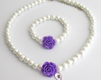 Personalized Flower Girl Necklace,Personalized flower girl jewelry set,Purple Rose Flower kids pearl necklace bracelet set,Free Shipping USA