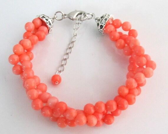 Coral Orange Bracelet,Triple strand Coral Orange Bracelet,Twisted Glass Pearl Bracelet,Bridesmaid Gift,Wedding Bracelet, Free Shipping USA
