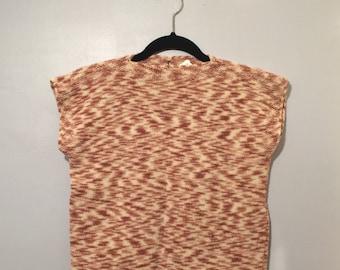 Vintage Simple ORANGE SHERBET Wool Knit Box Top sz S / M