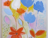 Original painting on stretched canvas, acrylics, blue orange pink yellow, flowers