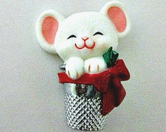 Mouse in Thimble Vintage Hallmark Lapel Pin - Hallmark Cards Christmas Holiday Jewelry