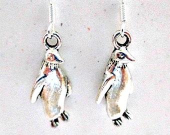 Penquin Pierced Earrings on 925 Silver Wires - Penguin Charm Dangle Earrings Jewelry Gift