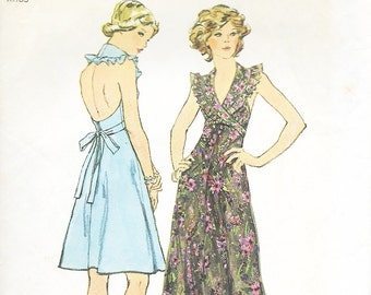 Simplicity 6396 - VINTAGE 1970s Ruffled HALTER DRESS  - Sewing Pattern - Size 12 - 34 Bust