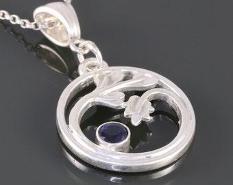 Genuine Blue Sapphire Pendant. Sterling Silver Necklace. Leafy Pattern. September Birthstone. f16p016