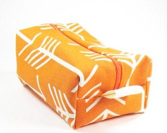 Makeup Bag / Cosmetic Bag/ Travel Bag / Toiletry Bag - Orange Arrows