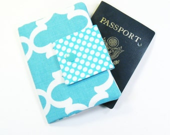 Travel Passport Holder / Passport Wallet / Passport Case - Light Blue Fulton Quatrefoil with dots