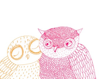 Square Greeting Card: Owl, Pink and Orange