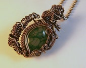 Green Dragon Veins & Silver Wire Wrapped Victorian Style Pendant