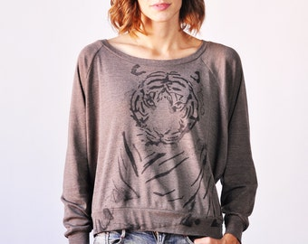 Tiger Graphic Long Sleeved Tee, Tri Blend Bark or Grey Color