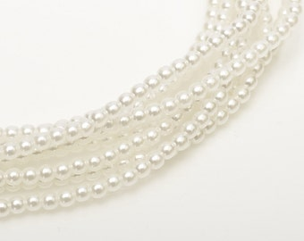 2mm White Czech Round Glass Pearls Beads 50 pcs